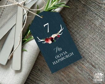 Rustic Place Tags, Burgundy Navy Boho Wedding Seating Tags with String, Marsala Blush Flowers and Antler Escort Cards  > PRINTED Place Cards