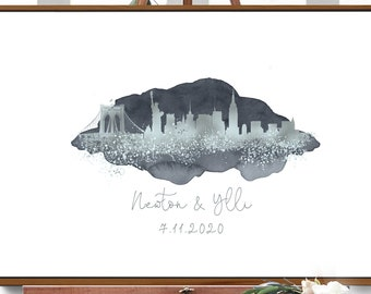 Wedding Guest Book Alternative > New York skyline sign, Faux metallic silver and gray watercolor print, Manhattan wedding guestbook canvas