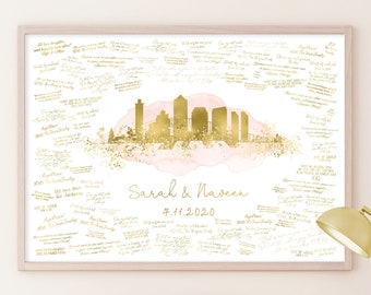 Wedding Guest Book Canvas > San Diego skyline sign, Blush watercolor and faux metallic gold print, Wedding guestbook alternative poster
