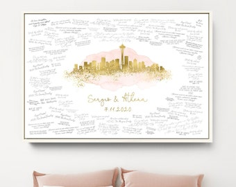 Wedding Guest Book Alternative > Seattle skyline print, Faux metallic gold and blush watercolor canvas, Washington wedding guestbook sign