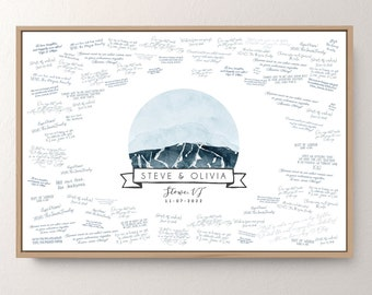 Stowe Mountain GUESTBOOK alternative • Vermont wedding guest book canvas • Stowe wall art • Dusty blue, Indigo blue digital watercolor {oio}