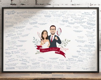 Guest Book Alternative Canvas > Custom portrait sign for wedding, Personalized couple cartoon from photos, Wedding gift for tennis player