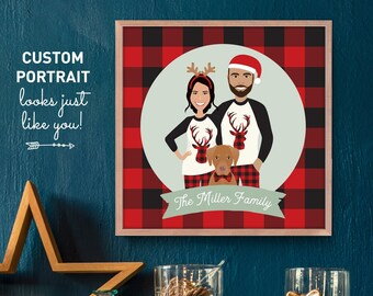 Custom Family Portrait with Dog Print, Christmas Portrait in Matching Pajamas, Buffalo Plaid Red, Framed Canvas Sign or Printable Portrait
