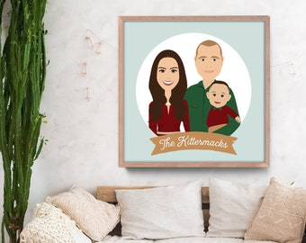 Custom Family Portrait Print, Personalized Family Name Sign, Unique Gift for Couple, Framed Canvas Sign or Printable Portrait