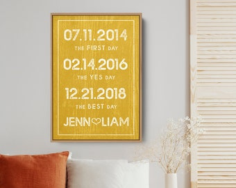 Mustard Yellow Dates Canvas Sign, Modern Farmhouse Milestone Date Print, Rustic Yellow Large Art Print, Valentine's Day Gift for Wife
