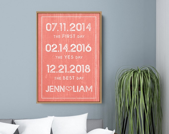 Rustic Coral Dates Canvas Sign, Modern Farmhouse Milestone Date Print, Living Coral Large Art Print, Valentine's Day Gift for Wife