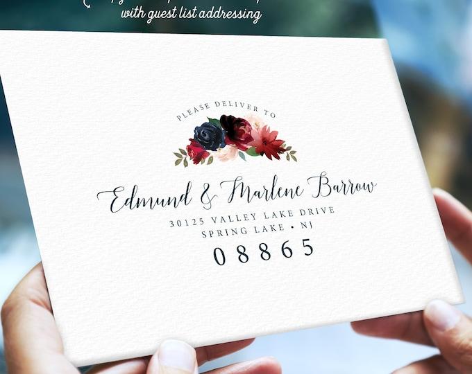 Rustic Envelopes Addressed, Return Address Printing, Guest List Addressing, Burgundy Navy Boho Wedding Invite Envelope > PRINTED Envelopes