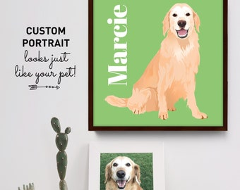 Custom Pet Portrait Sign, Personalized Dog Portrait Illustration, Golden Retriever Gift Idea for Pet Parent, Modern Minimalist Bright Green