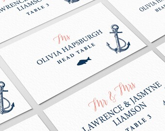 Coral Navy Blue Place Cards, Nautical Wedding Seating Cards for Beach Destination Wedding, Escort Cards > PRINTED Place Cards