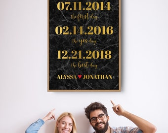 Black and Gold Dates Canvas Sign, Marble Print Milestone Print Wall Art, Framed Paper Anniversary Gift Idea for Husband, Valentine's Day