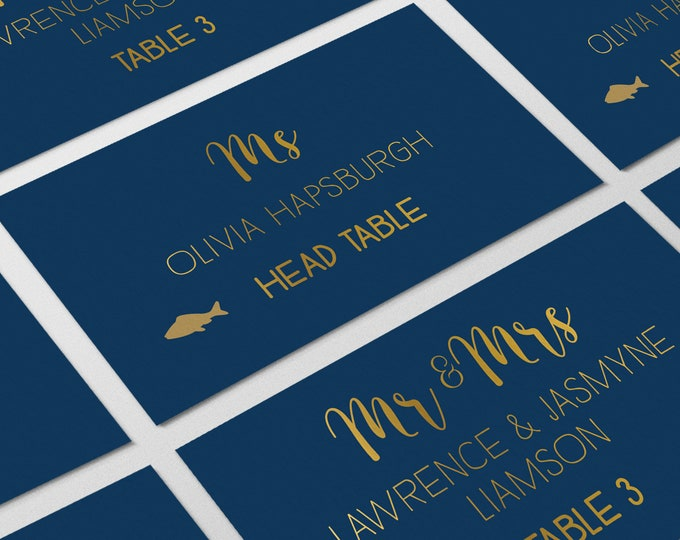 Gold and Navy Place Cards, Elegant Navy Wedding Seating Cards, Navy and Gold Escort Cards, Folded Tent Card  > PRINTED Place Cards