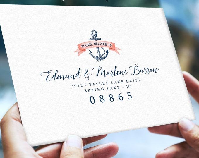 Nautical Envelopes Addressed, Return Address Printing, Guest List Addressing, Coral Navy Blue Wedding Invite Envelope > PRINTED Envelopes