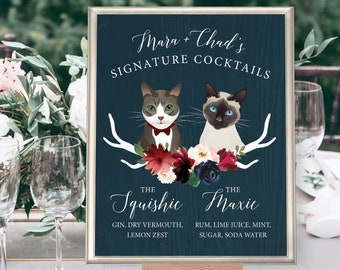 Custom Pet Portrait Signature Cocktail Sign, Cat Portrait Wedding Bar Sign, Burgundy Navy Boho Drink Canvas > PRINTED Bar Sign or Printable