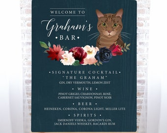 Custom Pet Portrait Bar Sign, Cat Portrait Wedding Bar Sign, Burgundy Navy Boho Drink Canvas > PRINTED Bar Sign or Printable