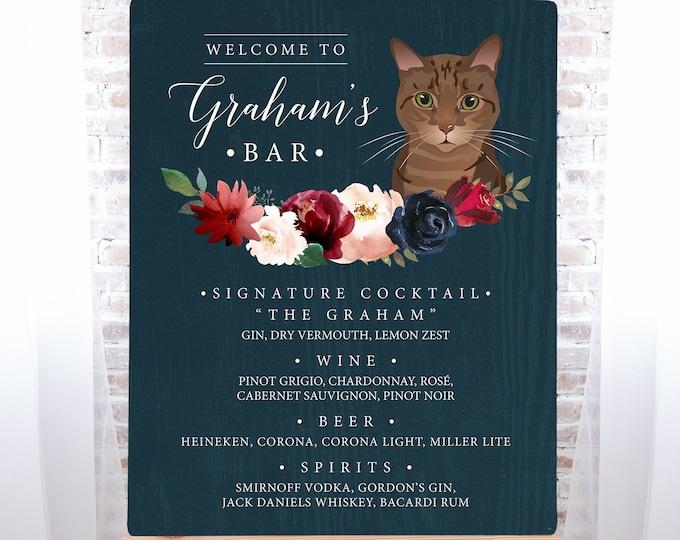 Custom Pet Portrait Bar Sign, Cat Portrait Wedding Bar Sign, Burgundy Navy Boho Drink Canvas > PRINTED Bar Sign or Printable