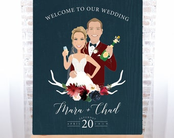 Boho Wedding Welcome Sign, Burgundy Navy Rustic Custom Couple Portrait Canvas, Marsala Blush Flower > PRINTED Sign for Wedding or Printable
