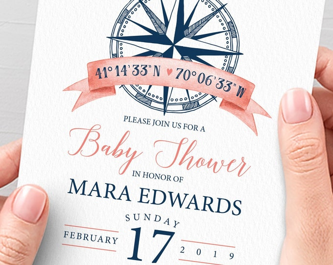 Nautical Baby Shower Invitation, Coral Navy Blue Shower Invite, Beach Nautical Shower, PRINTED INVITATION or printable invite