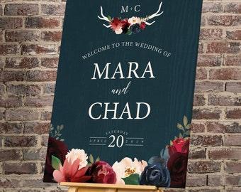 Rustic Welcome Sign, Wedding Welcome Sign, Burgundy Navy Boho Wedding Sign, Large Canvas Sign > PRINTED Sign for Wedding {or} Printable Sign
