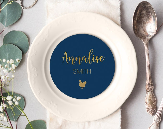 Gold and Navy Place Cards, Elegant Navy Round Card for Wedding Reception Seating, Navy and Gold Escort Cards > PRINTED Circle Place Card