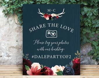 Rustic Hashtag Sign for Social Media, Burgundy Navy Boho Wedding Photo Sign, Large Canvas Sign >PRINTED Sign for Wedding {or} Printable Sign