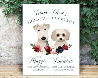 Personalized Dog Bar Sign, Pet Portrait Signature Cocktail Print, Blush Burgundy Navy Boho Wedding Drink Sign > PRINTED Sign or Printable