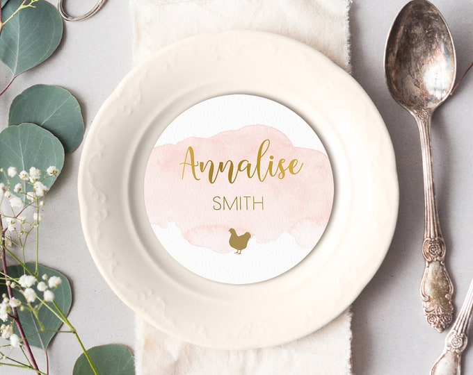 Gold and Blush Place Cards, Blush Pink Watercolor Round Card for Wedding Reception Seating, Blush Escort Cards > PRINTED Circle Place Card