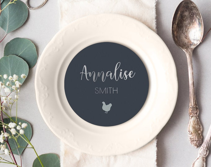Silver and Gray Place Cards, Neutral Round Card for Wedding Reception Seating, Faux Metallic Silver Escort Cards > PRINTED Circle Place Card