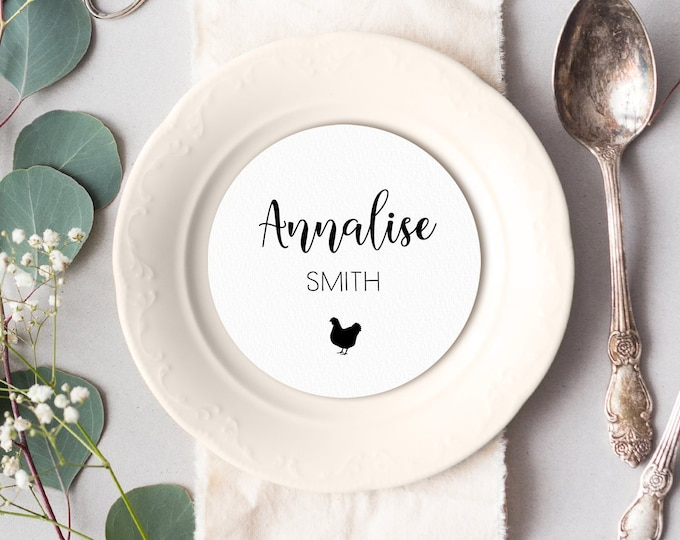 Calligraphy Place Cards, Round Card for Wedding Reception Seating, Minimalist Black and White Escort Cards > PRINTED Circle Place Card