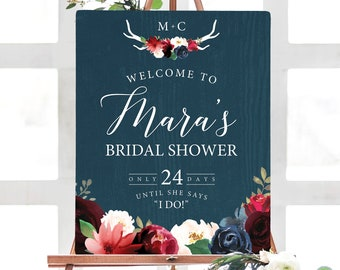 Rustic Bridal Shower Sign, Burgundy Navy Boho Bridal Shower Welcome Canvas Print > PRINTED Sign for Wedding Shower Countdown