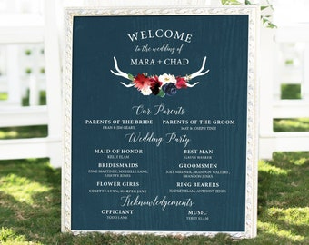 Rustic Bridal Party Sign, Burgundy Navy Boho Wedding Party Print, Large Canvas Sign > PRINTED Sign for Wedding {or} Printable Sign