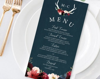 Rustic Menu Card, Burgundy Navy Boho Wedding Menu, Marsala Blush Flowers and Antlers Menu Tent Cards > PRINTED Menus or Printable