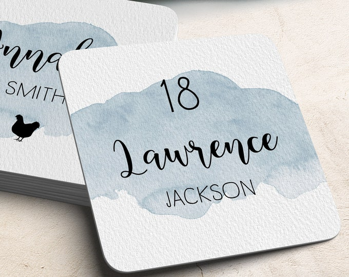 Dusty Blue Place Cards, Blue Watercolor Custom Wedding Coasters for Reception Seating, Calligraphy Escort Cards > Extra Thick Drink Coaster