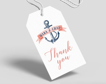 Nautical Favor Tag, Coral Navy Blue Wedding Favor Tags with String for Beach Destination Wedding > PRINTED Tags, Round or Square Stickers