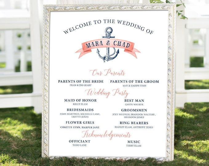 Nautical Bridal Party Sign, Coral Navy Blue Wedding Party Large Canvas Sign for Beach Wedding > PRINTED Sign for Wedding {or} Printable Sign