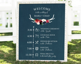 Rustic Wedding Agenda Sign, Schedule of Events, Burgundy Navy Boho Wedding Schedule Print > PRINTED Sign for Wedding {or} Printable Sign