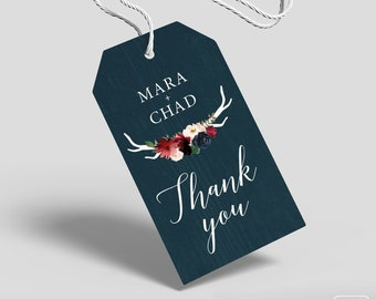 Rustic Gift Tags, Burgundy Navy Boho Wedding Favor Tags, Marsala Blush Flower and Antler Sticker > PRINTED Tags, Round or Square Stickers