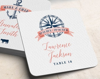 Nautical Escort Coasters, Place Cards, Coral Navy Blue Wedding Coasters, Beach Destination Wedding Escort Card > Extra Thick Drink Coaster
