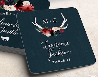 Rustic Escort Coasters, Burgundy Navy Boho Wedding Coasters for Reception Seating, Flower & Antler Escort Card > Extra Thick Drink Coaster