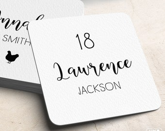 Calligraphy Place Cards, Custom Wedding Coasters for Reception Seating, Minimalist Black and White Escort Cards > Extra Thick Drink Coaster