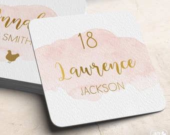 Gold and Blush Place Cards, Pink Watercolor Custom Wedding Coasters for Reception Seating, Blush Escort Cards > Extra Thick Drink Coaster