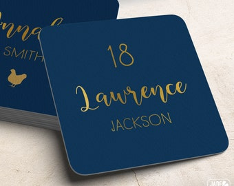 Gold and Navy Place Cards, Elegant Navy Custom Wedding Coasters for Reception Seating, Navy and Gold Escort Card > Extra Thick Drink Coaster