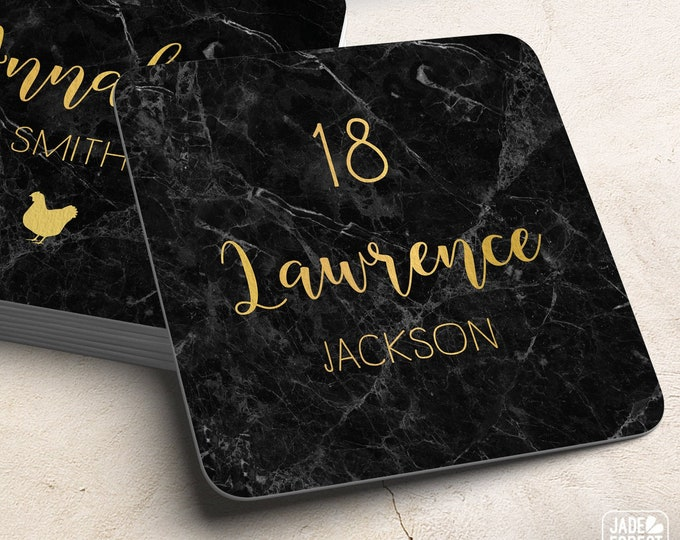 Black and Gold Place Cards, Elegant Marble Print Wedding Coasters for Reception Seating, Faux Gold Escort Cards> Extra Thick Paper Coaster