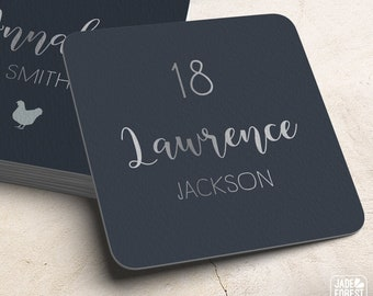 Silver and Gray Place Cards, Neutral Custom Wedding Coasters for Reception Seating, Faux Silver Escort Cards > Extra Thick Drink Coaster