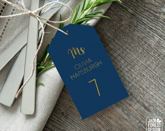 Gold and Navy Place Cards, Elegant Navy Wedding Seating Tags with String, Navy and Gold Escort Cards  > PRINTED Place Cards