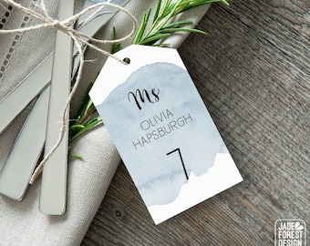 Dusty Blue Place Cards, Blue Watercolor Wedding Seating Tags with String, Calligraphy Escort Cards  > PRINTED Place Cards