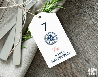 Nautical Place Tags, Coral Navy Blue Wedding Seating Tags with String for Beach Destination Wedding Escort Cards  > PRINTED Place Cards