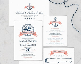 Navy Blue Wedding Invitation Suite, Coral Nautical Wedding Invite Set for Beach Destination Wedding, PRINTED INVITATION SET or printable