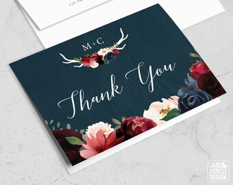 Rustic Thank You Card, Burgundy Navy Boho Thank Yous, Marsala Blush Flowers and Antlers, Folded PRINTED THANK YOU or printable cards