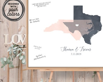 Wedding Guest Book Alternative Canvas > Watercolor Guestbook Map, Gray & Blush States Map Guest Book