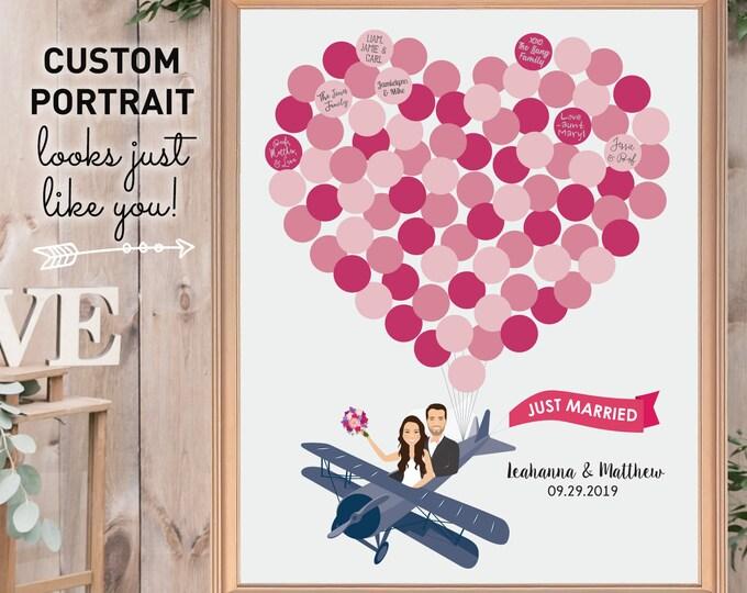 Guest Book Alternative with Balloon Heart, Airplane Cartoon, Couple Custom Portrait Canvas, Fuchsia Wedding
